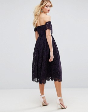 photo Off the Shoulder Lace Prom Midi Dress by ASOS, color Navy - Image 2
