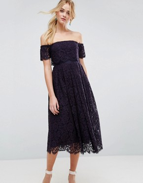 photo Off the Shoulder Lace Prom Midi Dress by ASOS, color Navy - Image 1