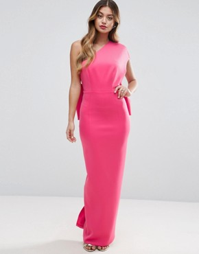 photo One Shoulder Bow Back Maxi Dress by ASOS PREMIUM, color Pink - Image 2
