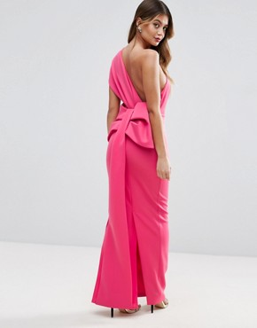 photo One Shoulder Bow Back Maxi Dress by ASOS PREMIUM, color Pink - Image 1