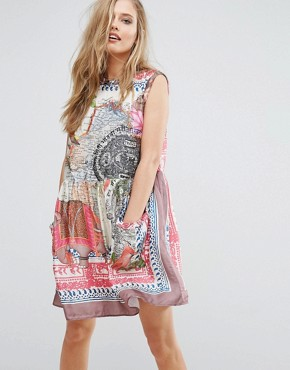 photo Map Print Smock Dress by Replay, color Multi - Image 1