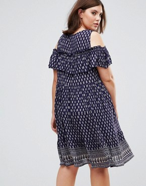 photo Dress with Frill Overlay by Diya Plus, color Blue - Image 2