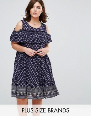 photo Dress with Frill Overlay by Diya Plus, color Blue - Image 1