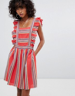 photo Malibu Ruffle Front Dress by d.RA, color Southwestern Stripe - Image 1