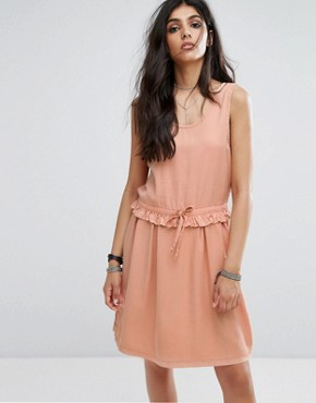 photo Drawstring Dress with Button Back Detail by Noisy May Tall, color Dusty Peach - Image 2