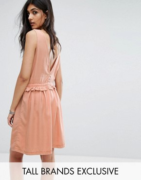 photo Drawstring Dress with Button Back Detail by Noisy May Tall, color Dusty Peach - Image 1
