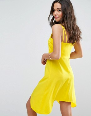photo Button Through Sun Dress with Dipped Hem by ASOS, color Yellow - Image 2