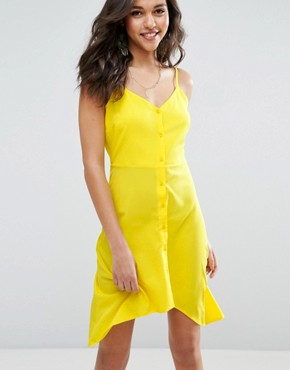 photo Button Through Sun Dress with Dipped Hem by ASOS, color Yellow - Image 1