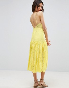 photo Lace Drop Waist Midi Dress by ASOS, color Yellow - Image 2