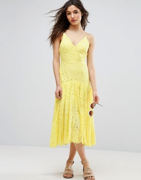 photo Lace Drop Waist Midi Dress by ASOS, color Yellow - Image 1