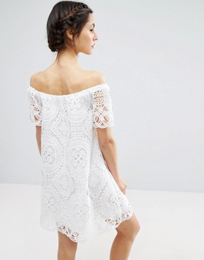 photo Lace Off Shoulder Dress by ASOS PREMIUM, color White - Image 2