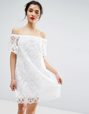 photo Lace Off Shoulder Dress by ASOS PREMIUM, color White - Image 1