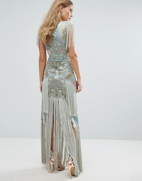photo Embellished Maxi Dress with Bird Pattern and Tassels by A Star Is Born, color Grey/Multi - Image 2