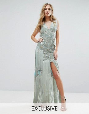 photo Embellished Maxi Dress with Bird Pattern and Tassels by A Star Is Born, color Grey/Multi - Image 1