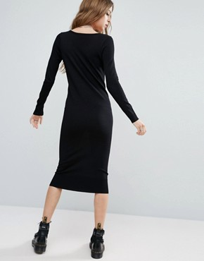 photo Knit Column Dress with Ladder Detail by ASOS, color Black - Image 2