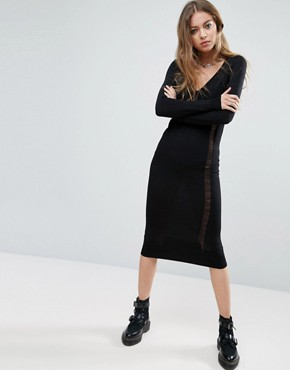 photo Knit Column Dress with Ladder Detail by ASOS, color Black - Image 1