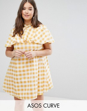 photo Halter Neck Sundress in Gingham by ASOS CURVE, color Multi - Image 1
