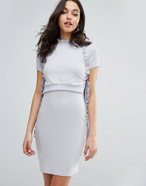photo Frill Layered Dress in Rib by Lost Ink, color Grey - Image 1