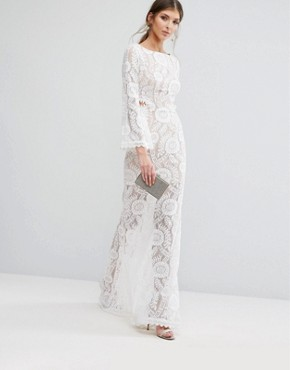 photo Cutout Back Lace Maxi Dress with Train by Jarlo Tall, color White - Image 2