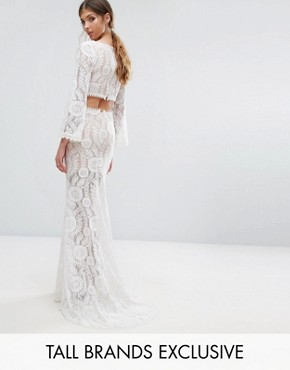 photo Cutout Back Lace Maxi Dress with Train by Jarlo Tall, color White - Image 1