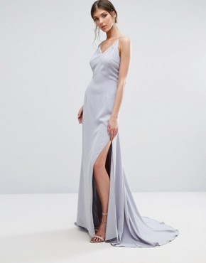 photo Button Back Cami Strap Maxi Dress by Jarlo Tall, color Grey Blue - Image 2