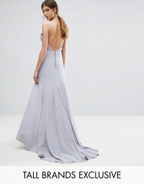 photo Button Back Cami Strap Maxi Dress by Jarlo Tall, color Grey Blue - Image 1