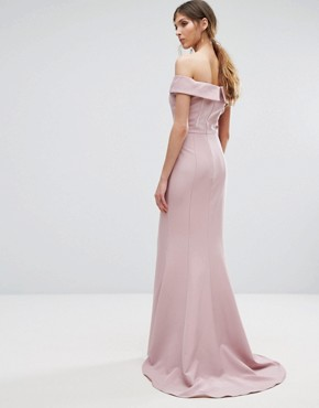 photo Bardot Maxi Dress with Thigh Split and Train by Jarlo Tall, color Pale Mauve - Image 2