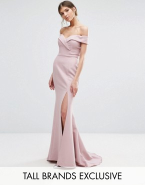 photo Bardot Maxi Dress with Thigh Split and Train by Jarlo Tall, color Pale Mauve - Image 1