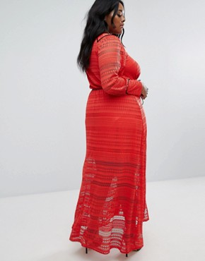 photo Lace Maxi Dress by Elvi, color Red - Image 2