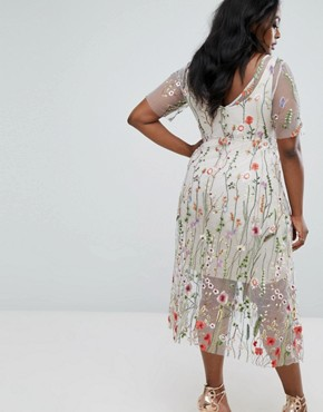 photo Floral Embroidered Dress by Elvi, color Multi - Image 2