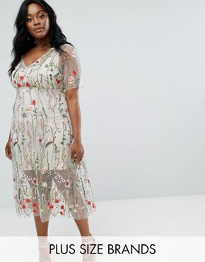 photo Floral Embroidered Dress by Elvi, color Multi - Image 1