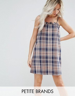 photo Cami Strap Check Dress by Noisy May Petite, color Multi - Image 1