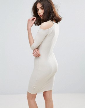 photo Cold Shoulder Bodycon Dress by NYTT, color Sand - Image 2