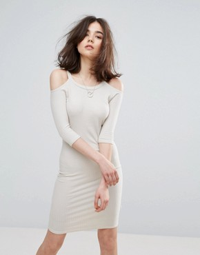 photo Cold Shoulder Bodycon Dress by NYTT, color Sand - Image 1
