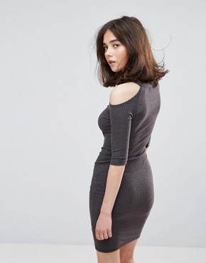 photo Cold Shoulder Bodycon Dress by NYTT, color Charcoal - Image 2