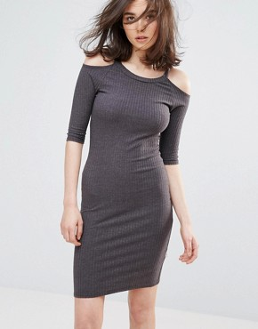 photo Cold Shoulder Bodycon Dress by NYTT, color Charcoal - Image 1
