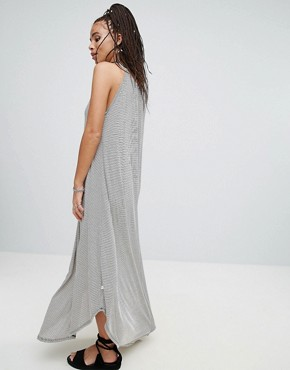 photo Jersey Striped Waterfall Maxi Dress by NYTT, color Black Stripe - Image 2