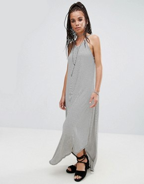 photo Jersey Striped Waterfall Maxi Dress by NYTT, color Black Stripe - Image 1