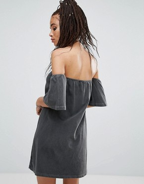 photo Oil Wash Off Shoulder Dress by NYTT, color Black Oil Wash - Image 2