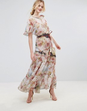 photo Floral Belted Maxi Dress by Traffic People, color Multi - Image 1