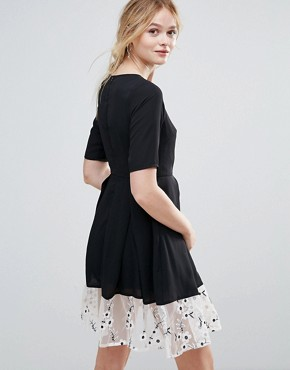 photo Drop Hem Dress with Floral Embroidered Panel by Traffic People, color Black - Image 2