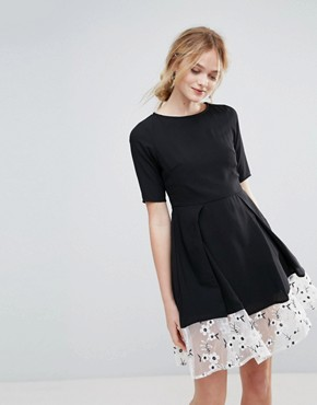 photo Drop Hem Dress with Floral Embroidered Panel by Traffic People, color Black - Image 1