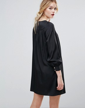 photo Smock Dress with Floral Embroidered Panel by Traffic People, color Black - Image 2