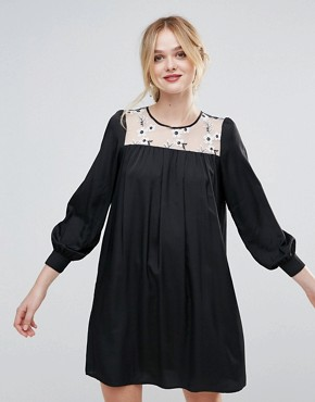 photo Smock Dress with Floral Embroidered Panel by Traffic People, color Black - Image 1