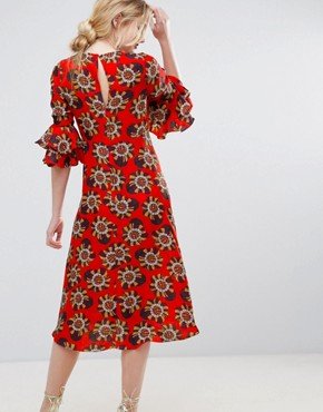 photo Floral Print Midi Dress by Traffic People, color Red - Image 2