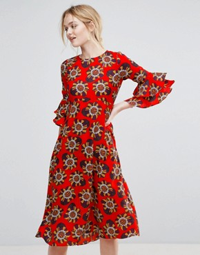 photo Floral Print Midi Dress by Traffic People, color Red - Image 1