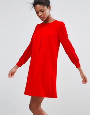 photo Long Sleeve Shift Dress by Traffic People, color Red - Image 1