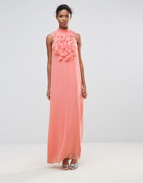 photo Maxi Dress with Ruffle Detail by Traffic People, color Pink - Image 1