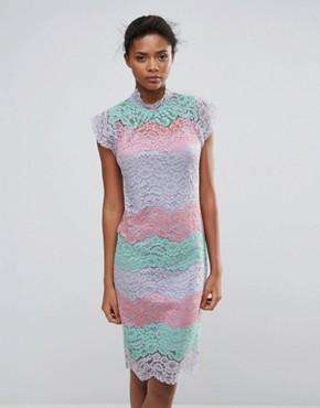 photo Multi Lace Midi Dress by Traffic People, color Pink - Image 1