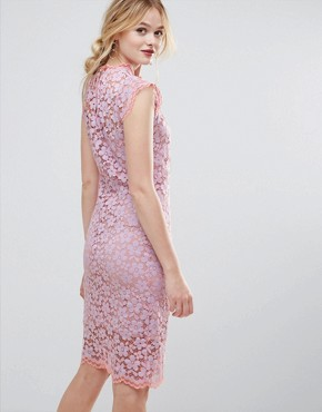 photo Contrast Floral Lace Shift Dress by Traffic People, color Lilac - Image 2